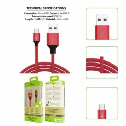 USB kabel micro 2.4A/1m